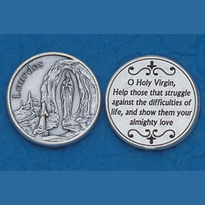 OUR LADY OF LOURDES LARGE METAL POCKET PRAYER COIN MEDAL TOKEN RELIGIOUS